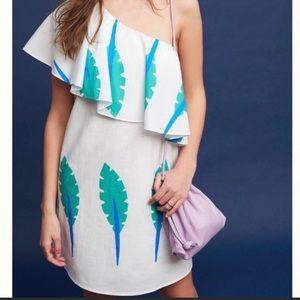 Anthropologie Caline One Shoulder Palm Dress